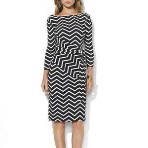 Lauren Ralph Lauren Chevron Dress Wrap Black Whit